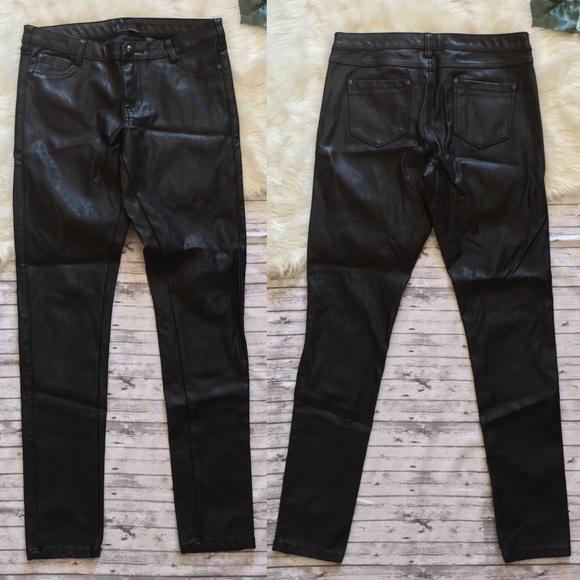 Faux Leather Super Skinny Jeans Pants Rocker Chic